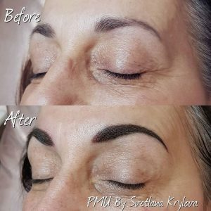 permanent makeup eyebrows beofre and after